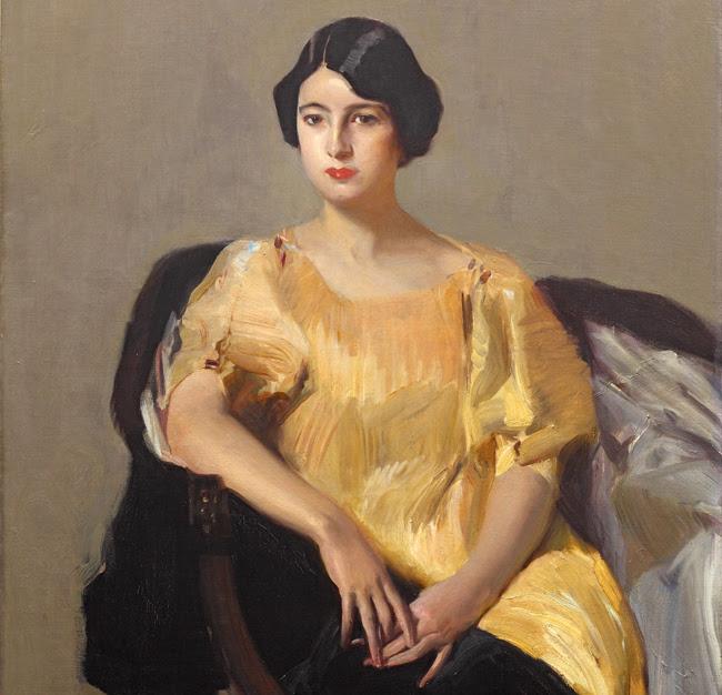 Elena con túnica amarilla cuadro de Sorolla