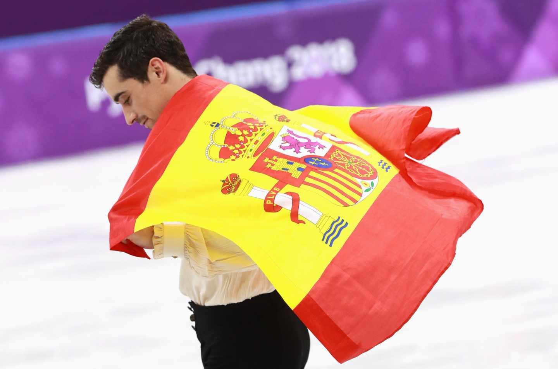 El patinador Javier Fernández, tras ganar el bronce olímpico.