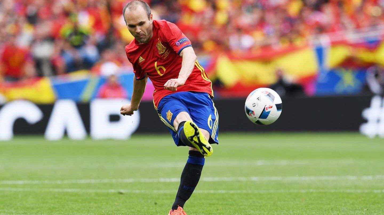 Andrés Iniesta, en un partido con la selección española.