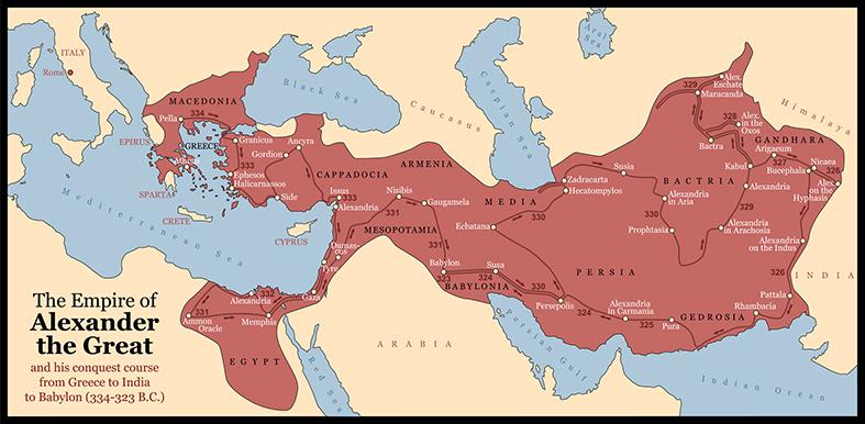 Extensión del imperio macedonio en su época de mayor extensión, en el siglo IV a.C.