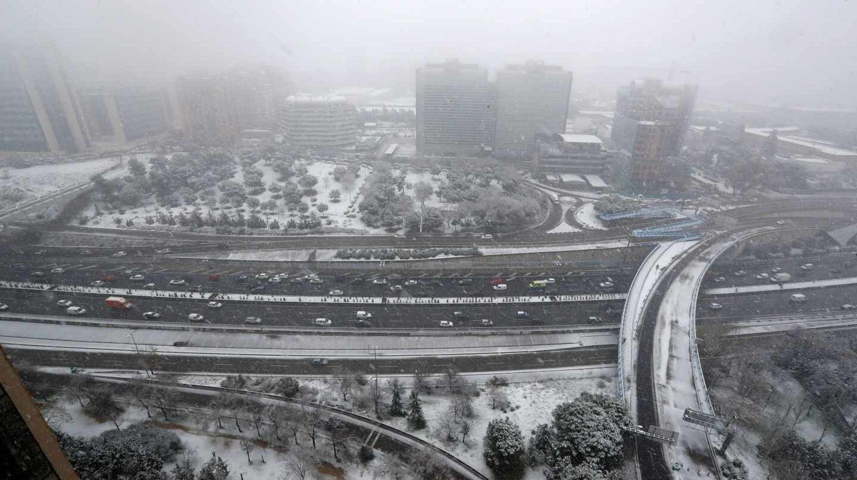 Vista general de la nevada en Madrid.