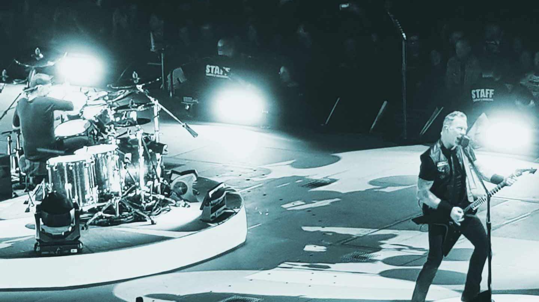 James Heatfield (guitarra) y Lars Ulrich (batería), durante el primer concierto de Metallica en Madrid.