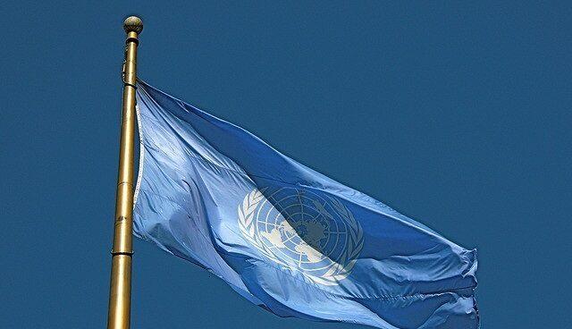 Bandera con el simbolo de la Organizacion de Naciones Unidas (ONU).