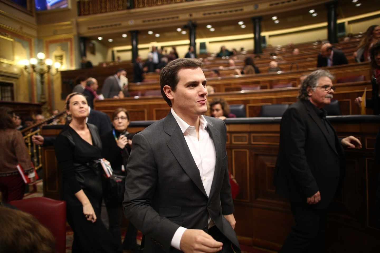 El líder de Ciudadanos, Albert Rivera, antes de la sesión de control al Gobierno en el Congreso de los Diputados.