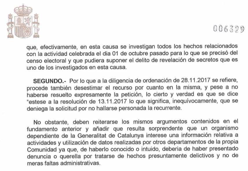 Extracto del auto del juez Ramírez Sunyer en que critica a la Autoridad Catalana de Protección de Datos.