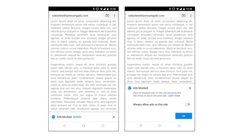 Anuncios bloqueados por Google Chrome