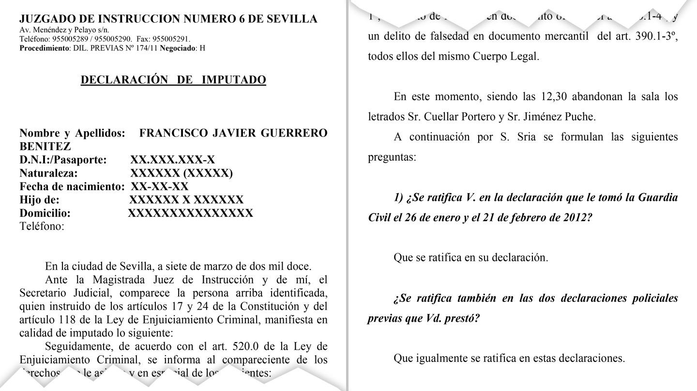 Acta de la declaración de Javier Guerrero ante la juez Alaya el 7 de marzo de 2012, cuando se ratificó de sus declaraciones en sede policial.