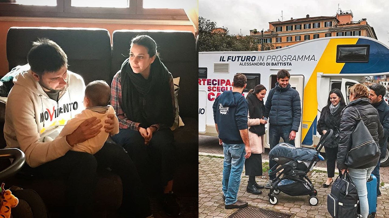 Alessandro Di Battista del Movimiento 5 Estrellas, con su familia y el camper en campaña electoral