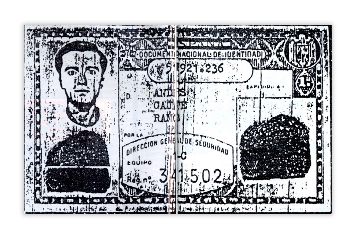 El DNI falso que la Policía Nacional entregó a Rufo Mora durante su etapa como infiltrado en los GRAPO.