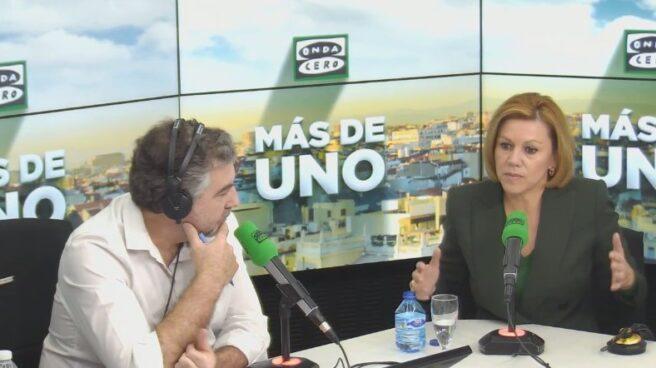 La ministra de Defensa, María Dolores de Cospedal, durante la entrevista en Onda Cero.