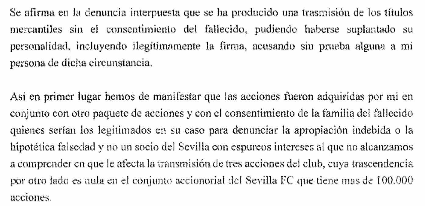 Escrito aportado por Castro al fiscal el pasado 26 de septiembre en el que reconoce que compró acciones a la familia de un fallecido.