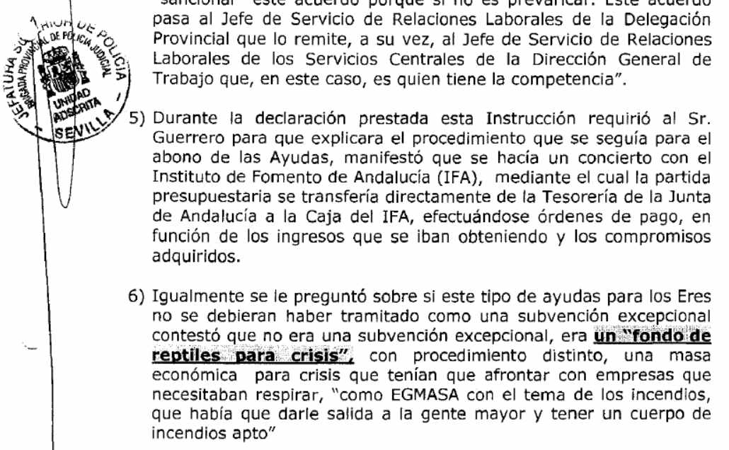 """Extracto del informe policial en el que Javier Guerrero describe la partida para los ERE como """"fondo de reptiles para crisis""""."""