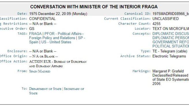 Captura de uno de los cables filtrados por WikiLeaks en relación a Manuel Fraga.