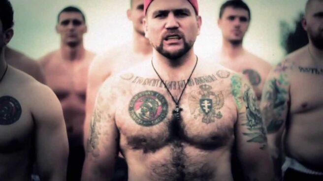 Miembros del grupo ultra del Spartak de Moscú Gladiator Firm.