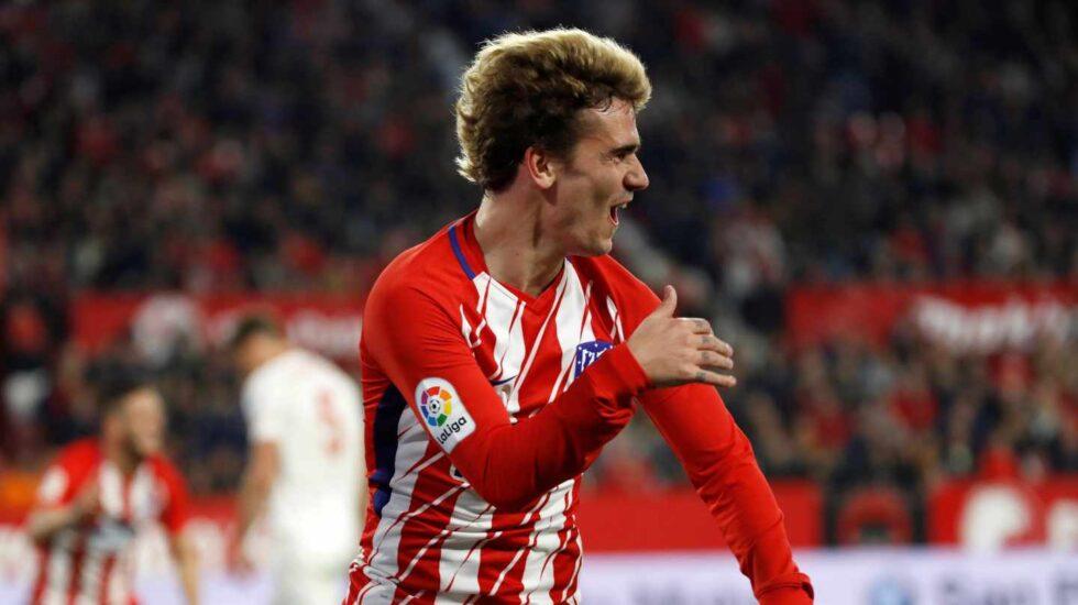 El jugador del Atlético de Madrid Antoine Griezmann celebra un gol.
