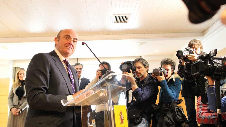 Luis de Guindos, durante su comparecencia para anunciar su candidatura a la vicepresidencia del BCE.