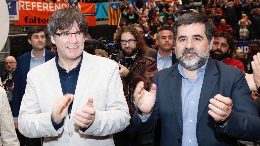 Jordi Sànchez y Carles Puigdemont, juntos durante un acto durante su etapa como presidente de la ANC.