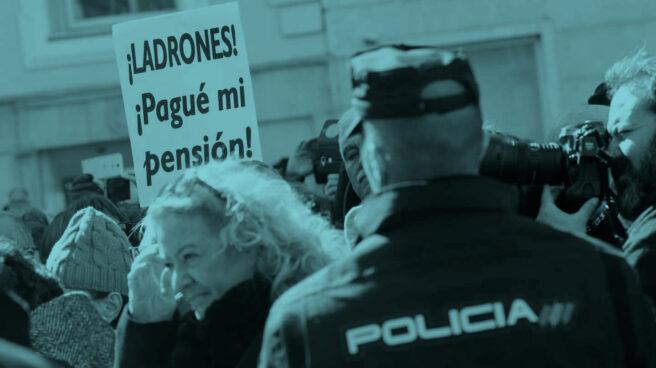 Manifestación de pensionistas a las puertas del Congreso.