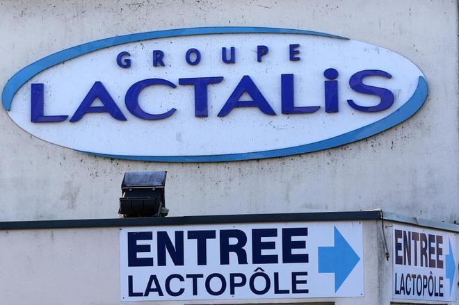 Entrada de la fábrica de Lactalis en Craon (Francia).