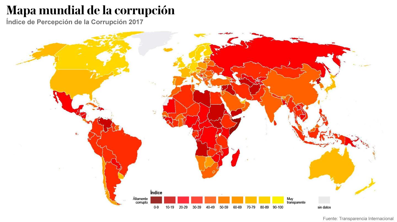 Mapa mundial de la corrupción. 2017