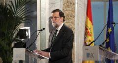 El presidente del Gobierno, Mariano Rajoy, durante su intervención en el Foro ABC-Deloitte celebrado hoy en el Casino de Madrid.