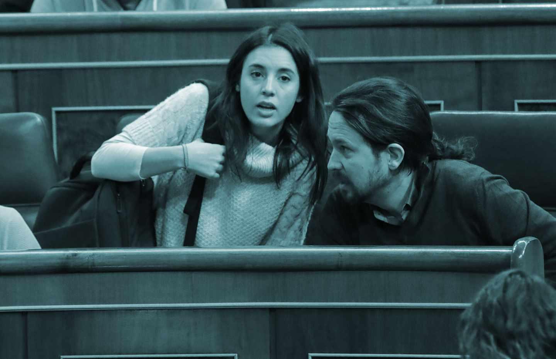 Irene Montero y Pablo Iglesias en el Congreso.