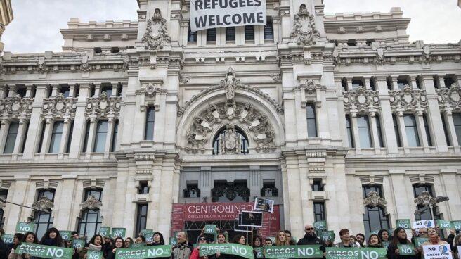 Protesta de PACMA contra los circos con animales en Cibeles el pasado enero.