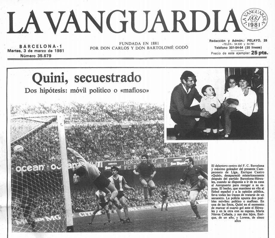 Portada del diario La Vanguardia del 3 de marzo de 1981, tras el secuestro de Quini.
