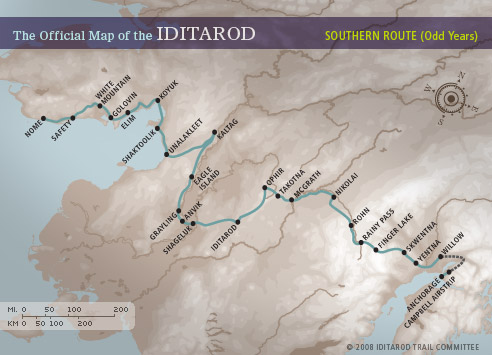 Ruta sur de la Iditarod, por la que discurrirá la carrera en los años 2018 y 2019.