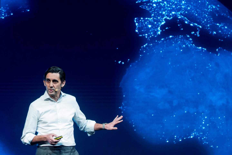 El presidente de Telefónica, José María Álvarez-Pallete, durante la presentación del asistente digital con inteligencia artificial AURA.