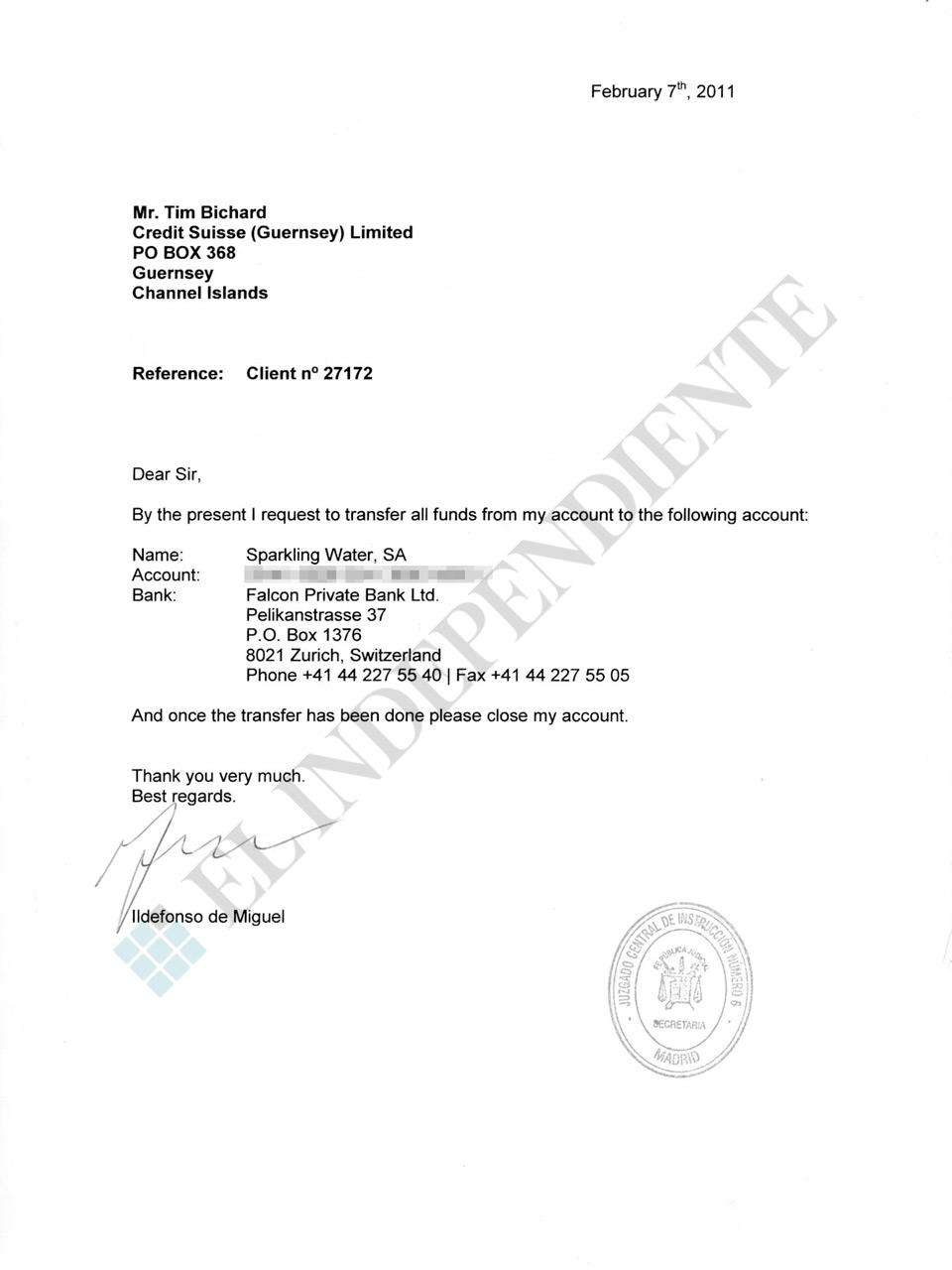 Orden de Ildefonso de Miguel al Credit Suisse de Guernsey para clausurar su cuenta.