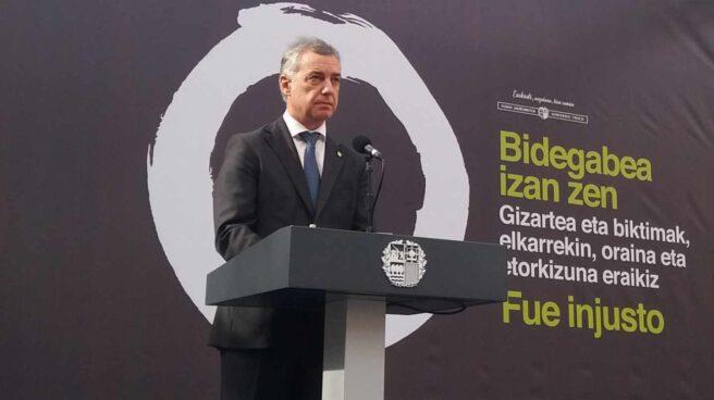 El lehendakari Iñigo Urkullu durante su intervencion en el acto con motivo del Día Europeo de las Víctimas del Terrorismo.