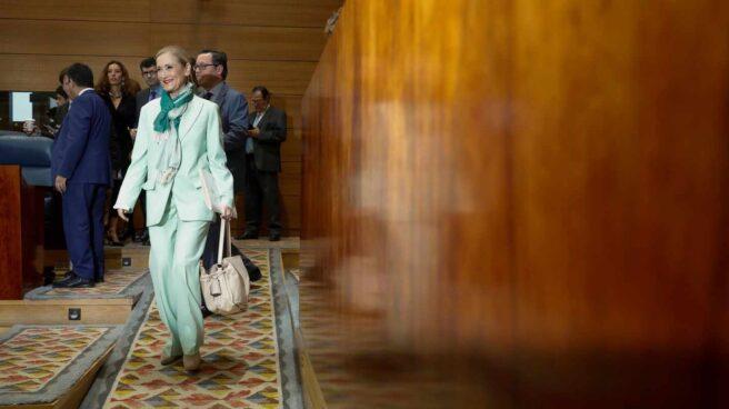 Cristina Cifuentes, en la Asamblea de Madrid tras conocerse la presunta falsificación de notas en su máster.