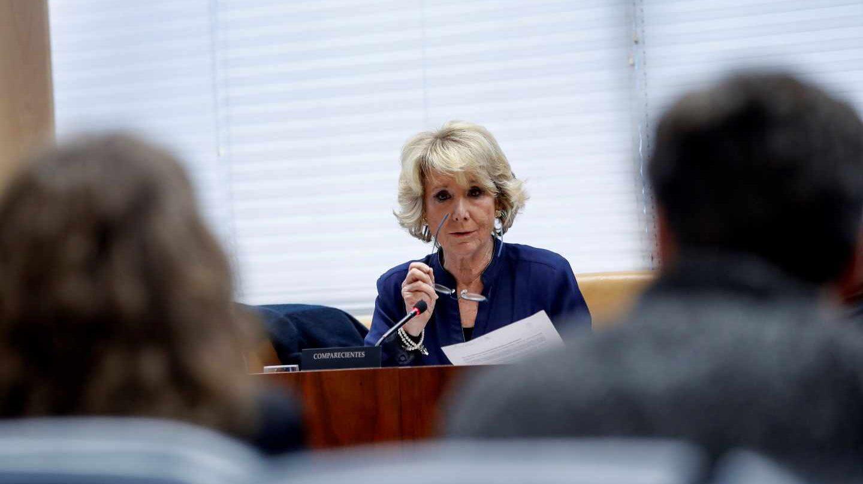 Esperanza Aguirre durante su comparecencia en la Asamblea de Madrid