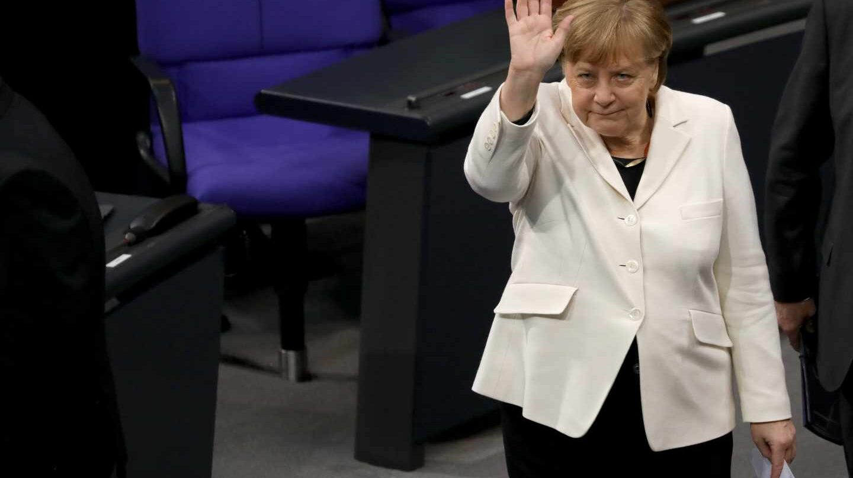 La canciller alemana, Angela Merkel, en el Parlaemento federal alemán.
