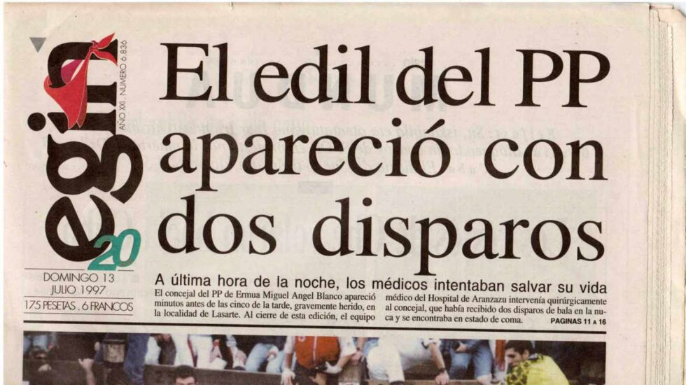 Portada de Egin tras conocerse el asesinato de Miguel Ángel Blanco.