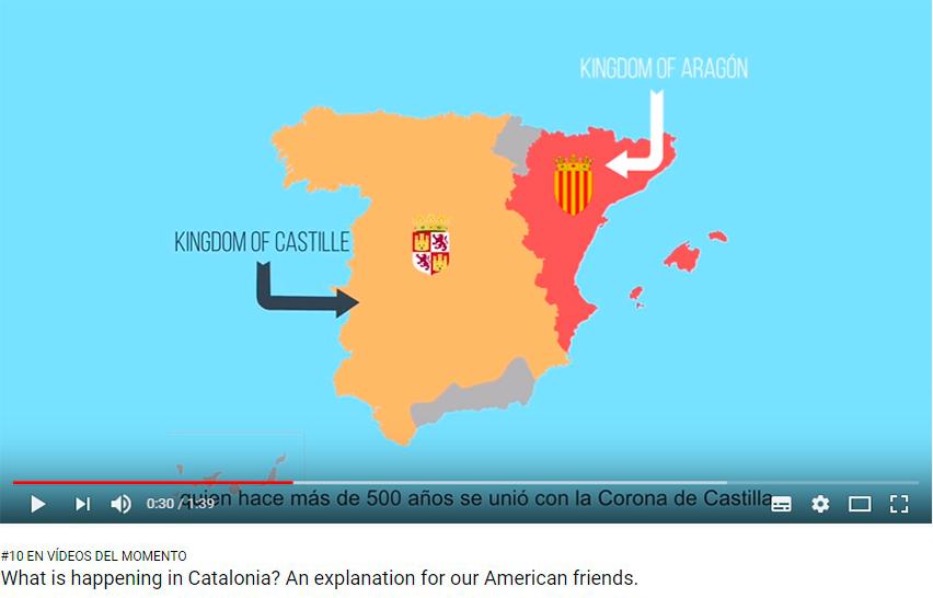 Uno de los planos del vídeo explicativo sobre la crisis política en Cataluña ante el desafío independentista.