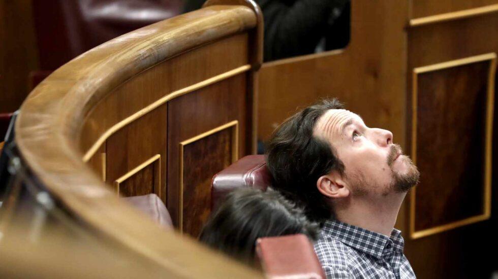 Pablo Iglesias, en su escaño del Congreso.