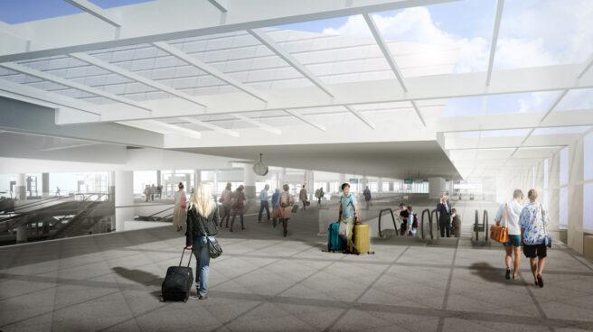Infografía interior de la futura Estación de AVE de Atocha.