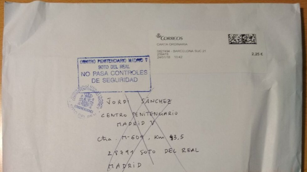 Carta enviada a prisión a Jordi Sànchez y devuelta al no pasar el control de seguridad.