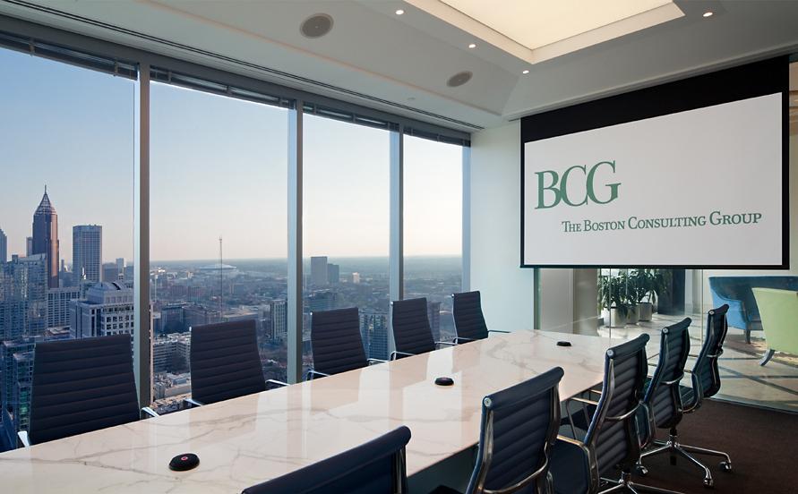 Logotipo de Boston Consulting Group en una reunión organizada por la consultora.