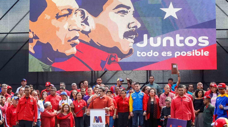 Nicolás Maduro, ante sus fieles en Caracas.