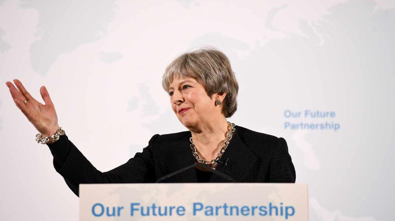 Theresa May habla sobre el Brexit en Londres.
