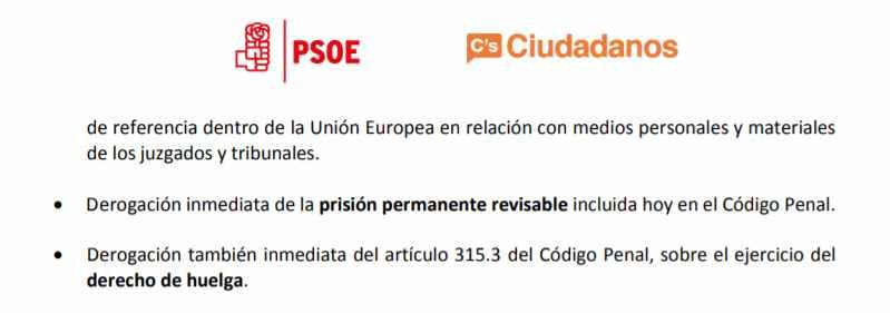 Documento pactado con el PSOE en el que Ciudadanos se posicionaba a favor de la derogación de la prisión permanente revisable.