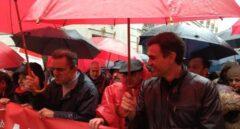 El secretario general del PSOE, en la manifestación en Madrid por unas pensiones dignas.