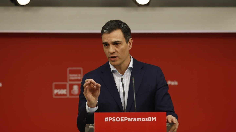 Pedro Sánchez, este martes en rueda de prensa en Ferraz.
