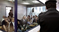 Los acusados del 11-M, en la sala blindada en la que asistieron al veredicto del juicio.