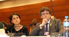 Anna Gabriel y Carles Puigdemont en Ginebra.