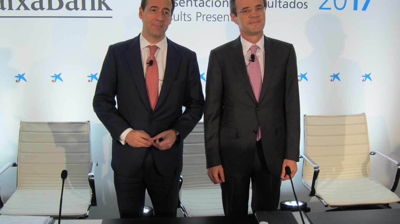 Gonzalo Gortázar y Jordi Gual, consejero delegado y presidente de CaixaBank.
