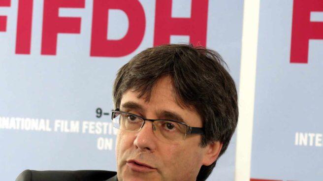 El expresidente catalán Carles Puigdemont durante un encuentro con la prensa en Ginebra.